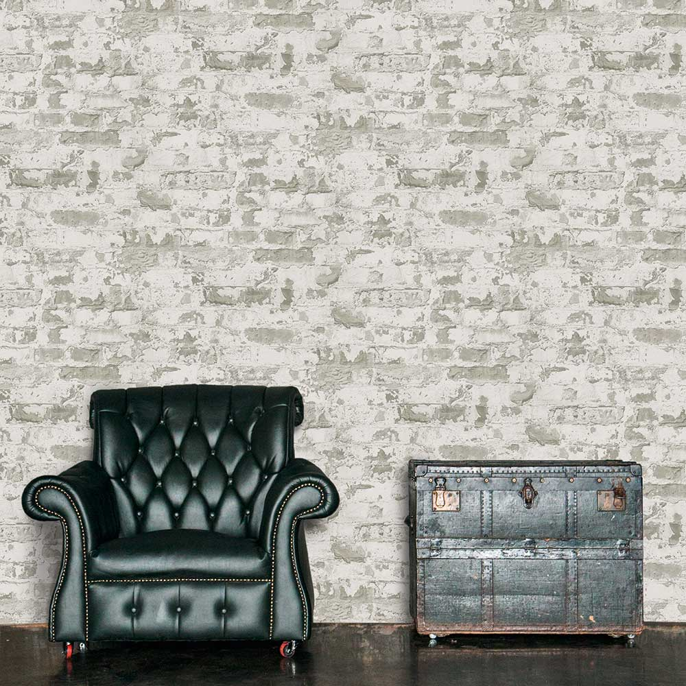 Distressed Plaster Wallpaper - Grey - by Metropolitan Stories
