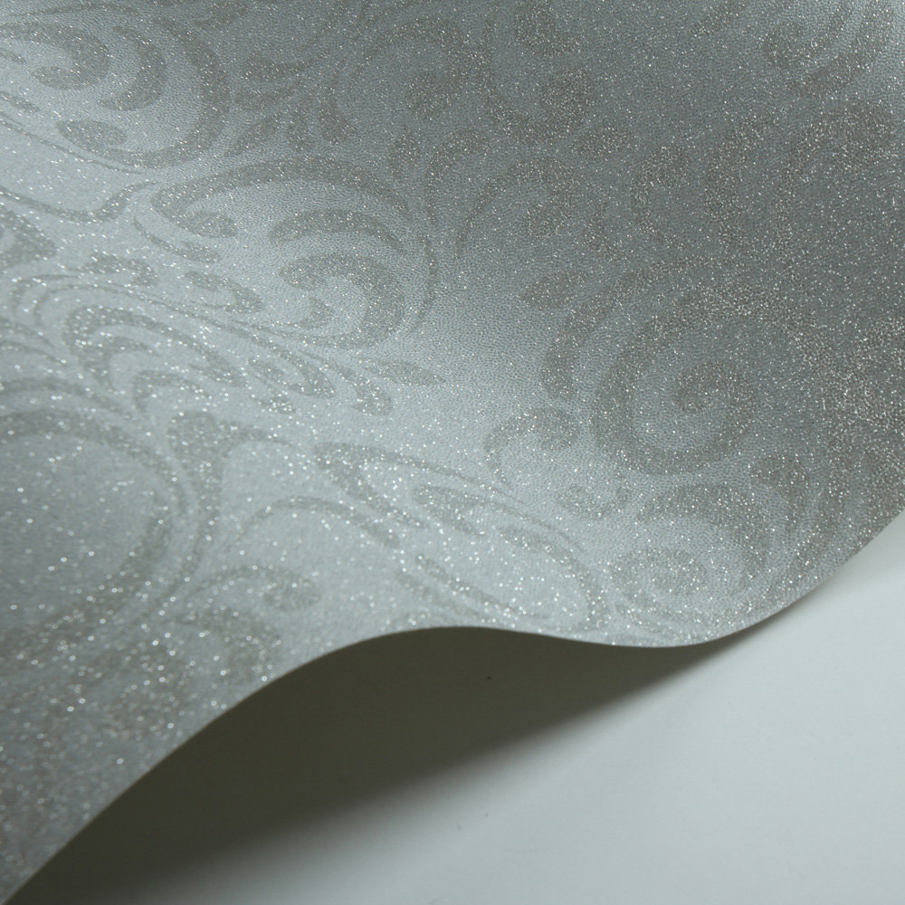 Luxe Damask Wallpaper - Silver - by Lipsy London