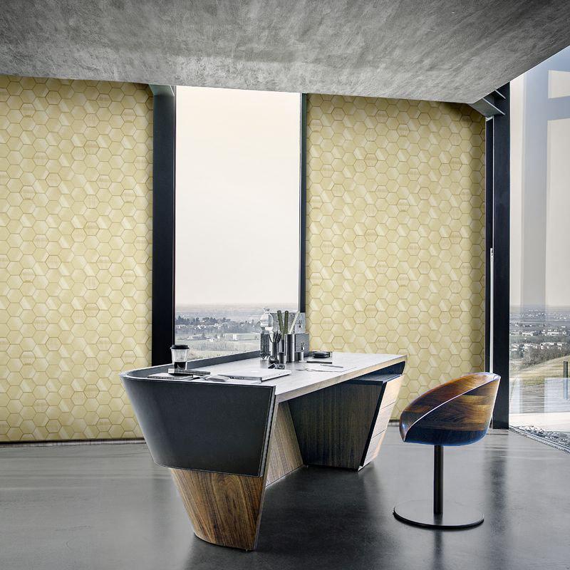 Murcielago Hexagon Feature Wallpaper - Cream - by Lamborghini
