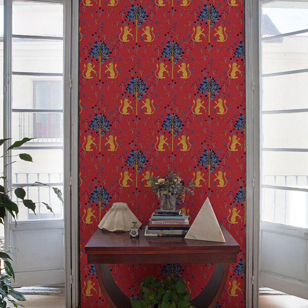 Medieval Tapestry Wallpaper - Deep Coral - by Coordonne