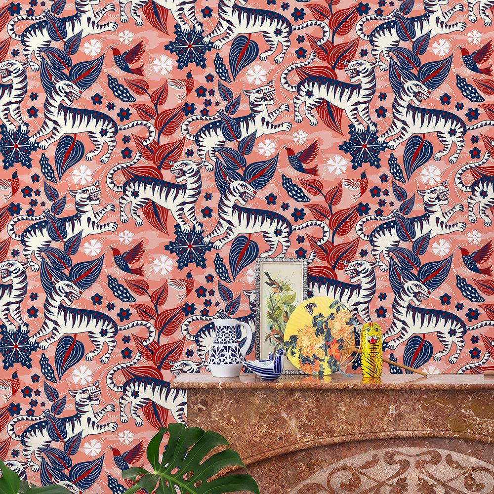 Selva de Tigres Wallpaper - Sunset - by Coordonne