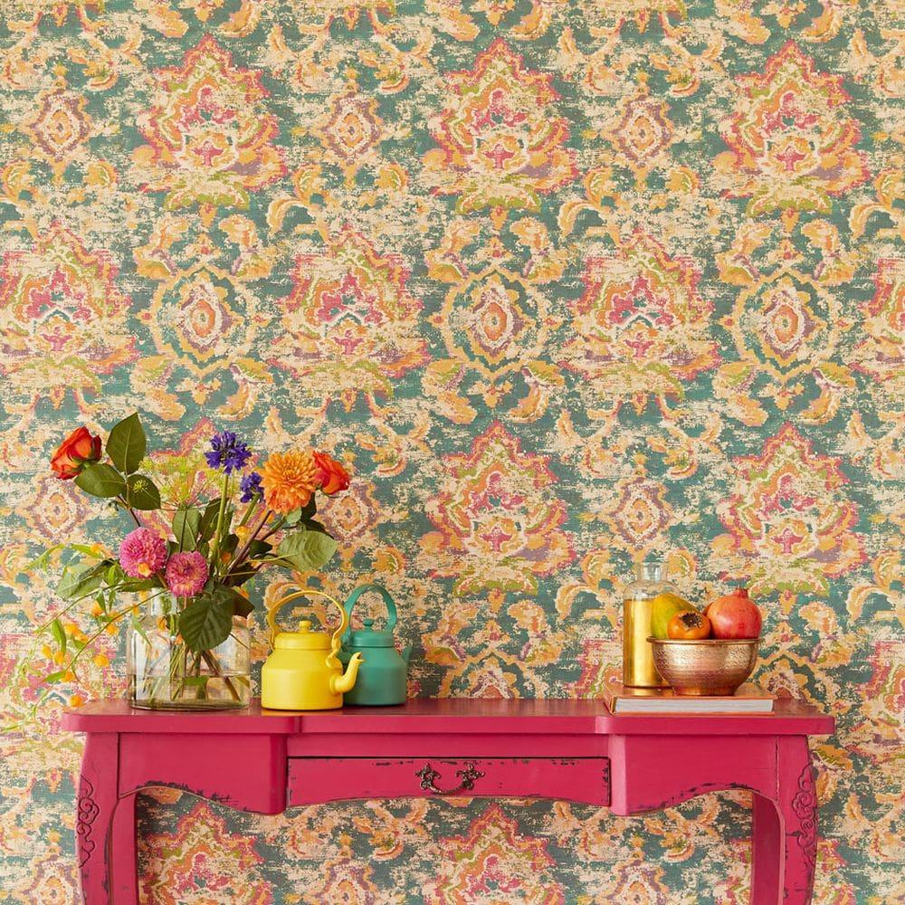 Sundari Damask Wallpaper - Green - by Eijffinger