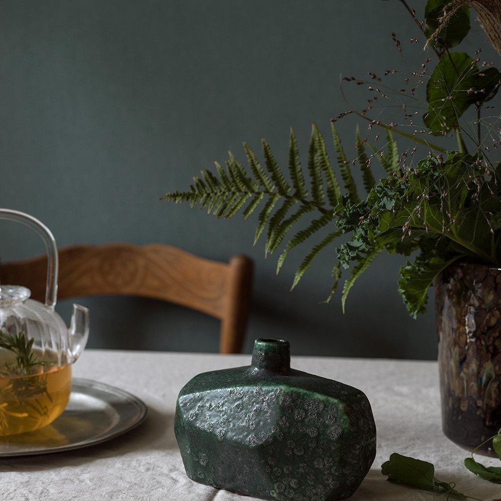 Linen Plain Wallpaper - Deep Forest - by Boråstapeter