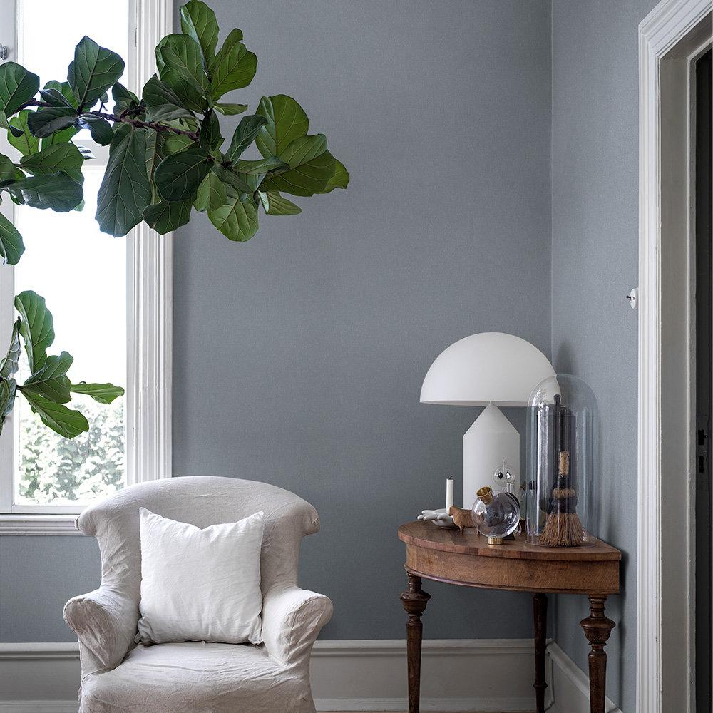 Linen Plain Wallpaper - Soft Indigo - by Boråstapeter