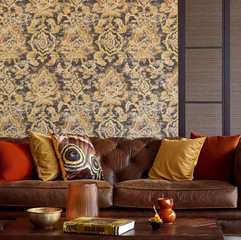 Sundari Damask Wallpaper - Black - by Eijffinger