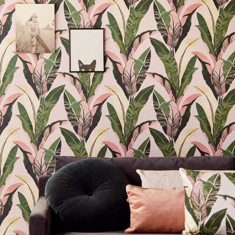 Eijffinger Jungle Palm Pale Pink Wallpaper - Product code: 384501