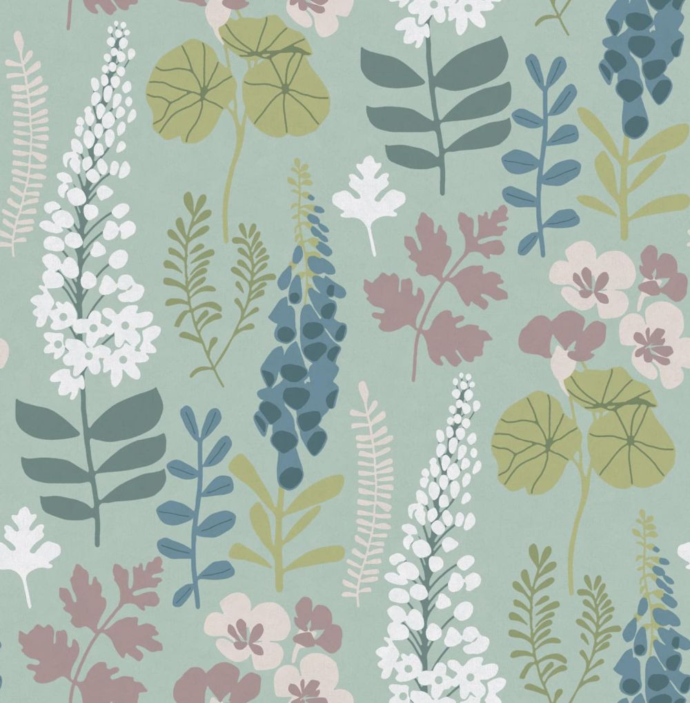 Eijffinger Foxglove Trail Teal Wallpaper - Product code: 384531