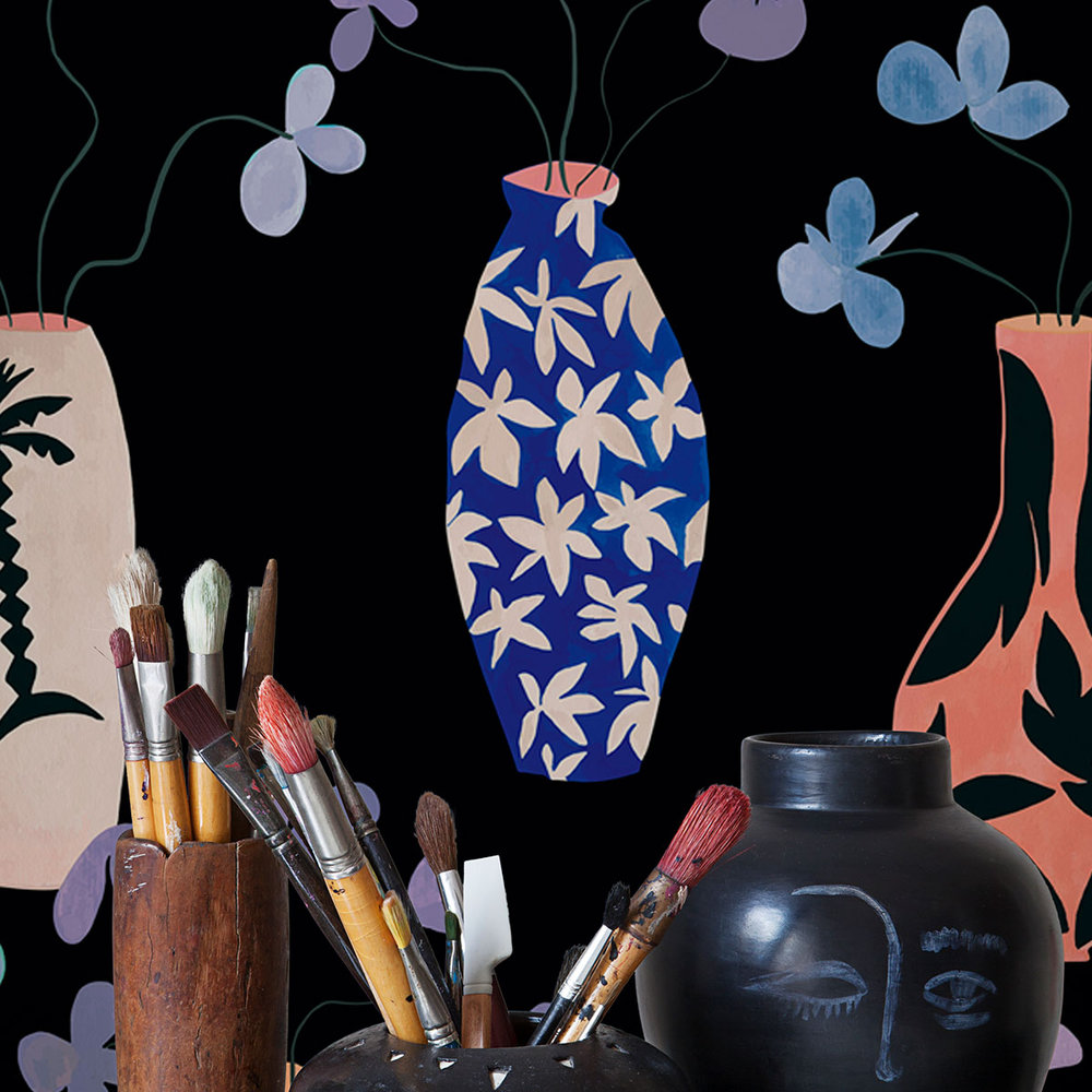 Vase of Paradise Wallpaper - Charcoal - by Coordonne