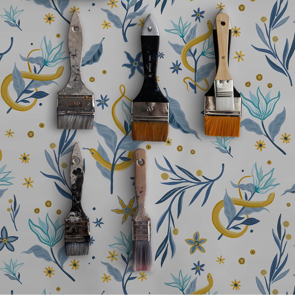 Coordonne Serpientes y Flores Light Wallpaper - Product code: 8000066