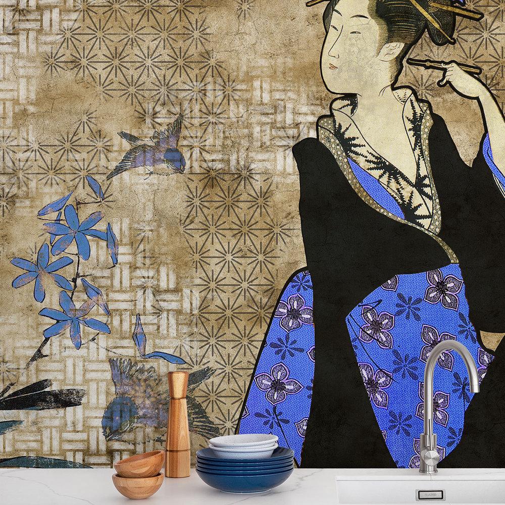 Geisha Graffiti Mural - Kage - by Coordonne