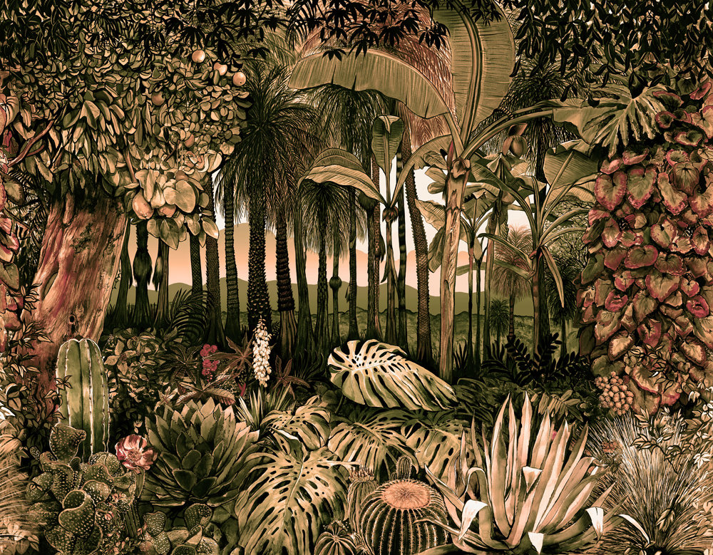 Coordonne Botanico Tarde (Evening) Mural - Product code: 8000049