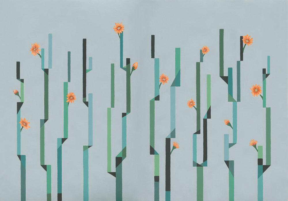 Flor de Cactus Mural - Dia (Day) - by Coordonne