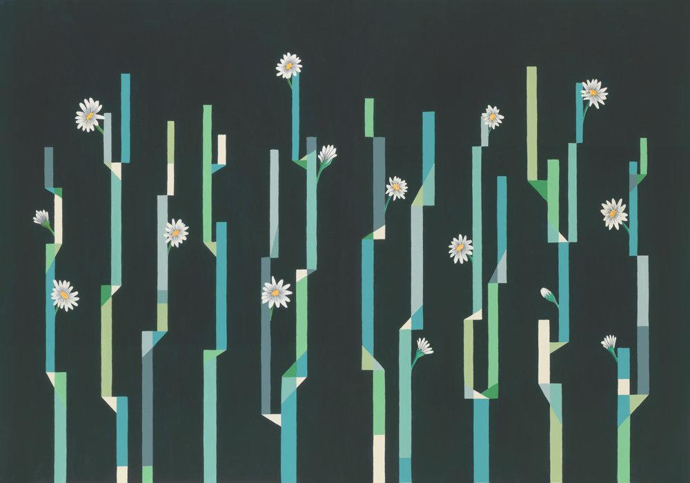 Flor de Cactus Mural - Noche (night) - by Coordonne