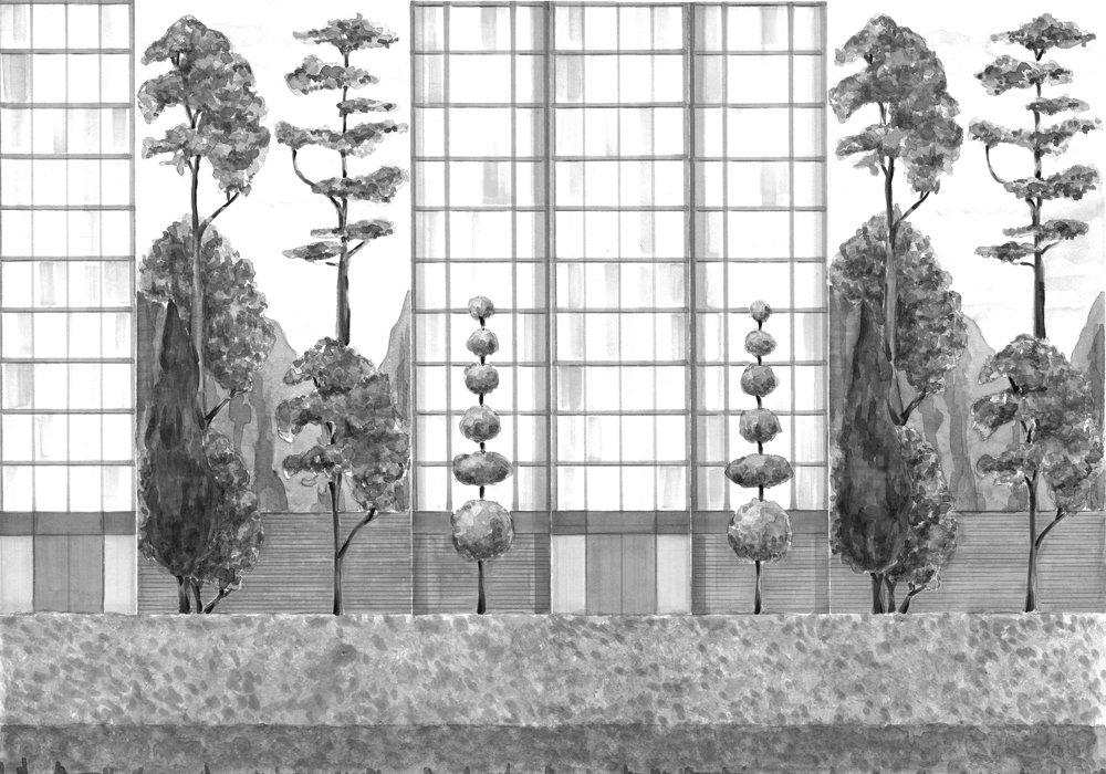 Urban Garden Mural - Black & White - by Coordonne