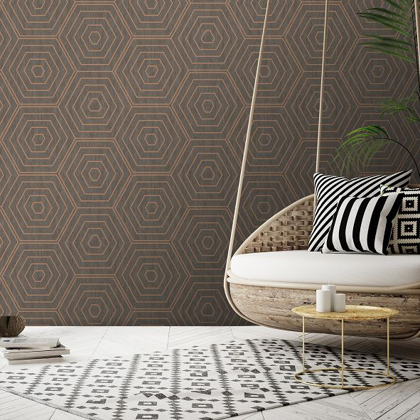 SK Filson Aztec Hexagons Copper Wallpaper - Product code: SK20021