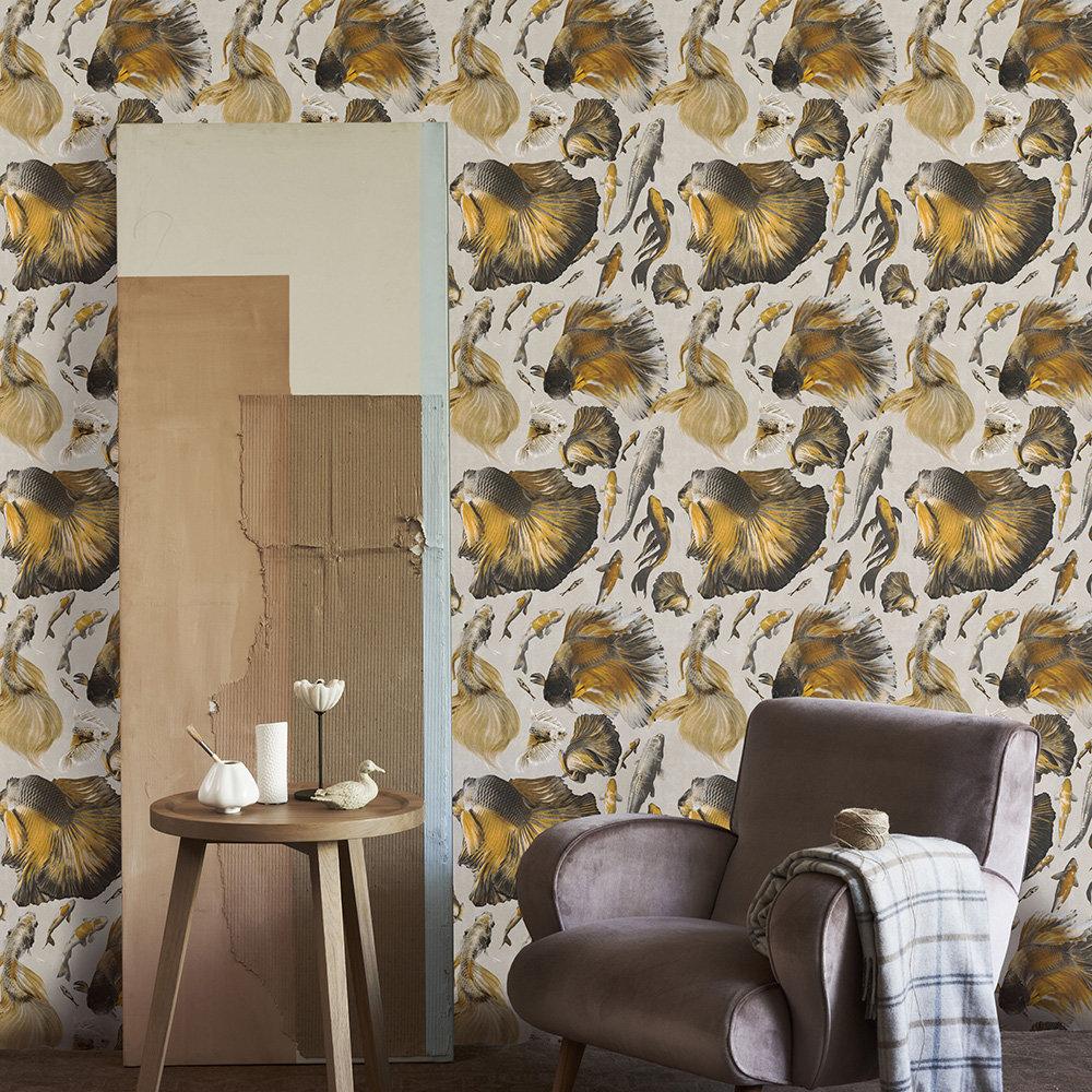 Mind the Gap Goldfish set of 3 panels Ivory Mural - Product code: WP20302