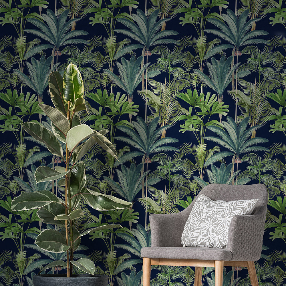Mind the Gap Palmeras set of 3 panels Anthracite  Mural - Product code: WP20362
