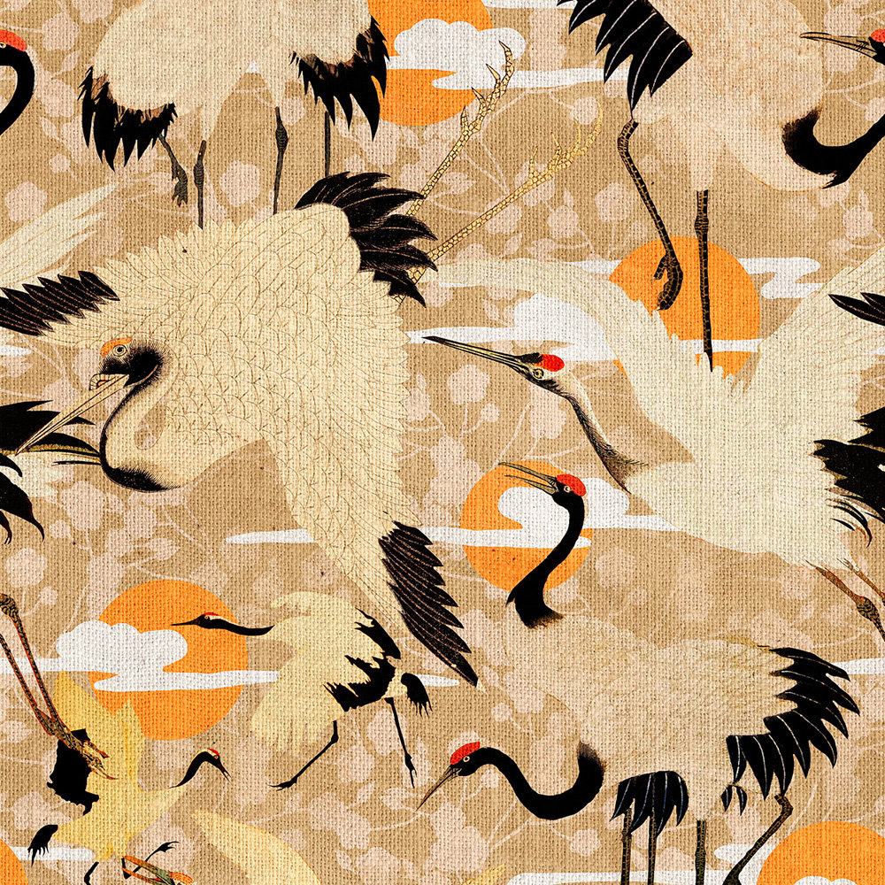 Birds of Happiness set of 3 panels Mural - Beige - by Mind the Gap