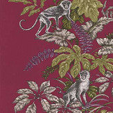 iliv Monkeying Around Cranberry Fabric - Product code: CRAU/MONKECRA