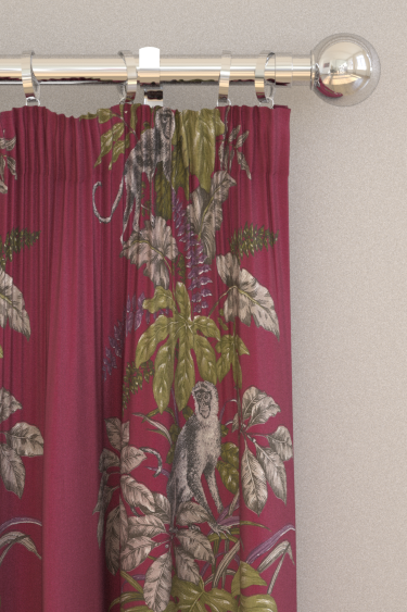 iliv Monkeying Around Cranberry Curtains - Product code: CRAU/MONKECRA