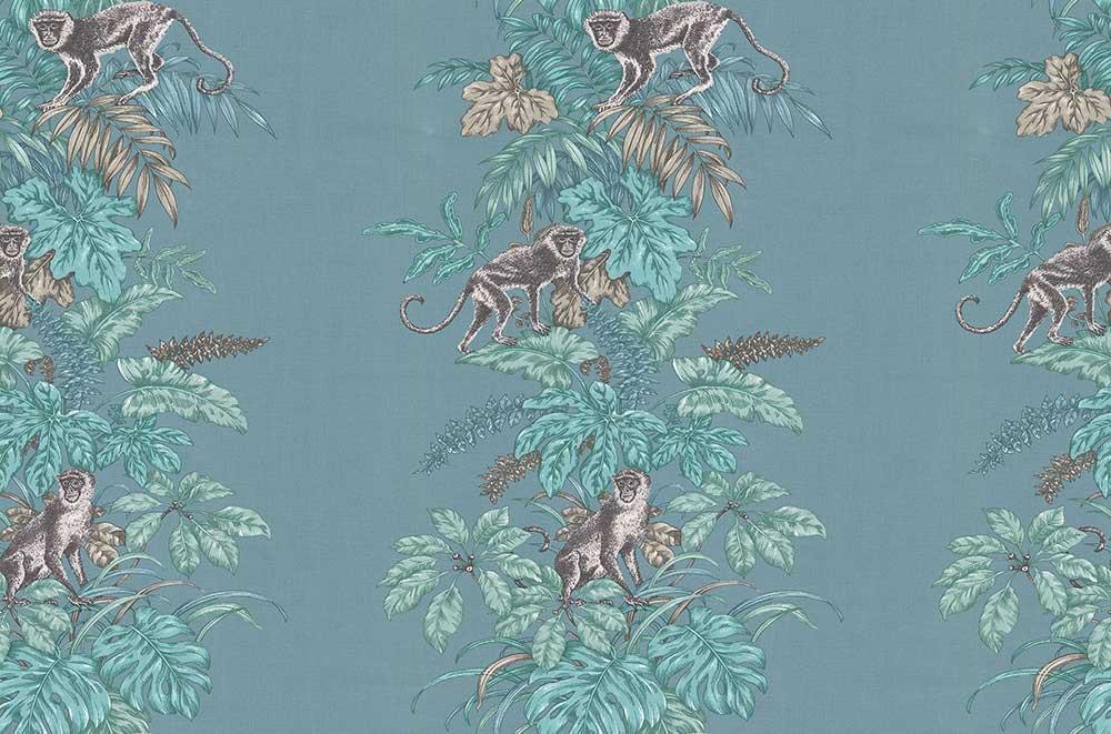 Monkeying Around Fabric - Lagoon - by iliv