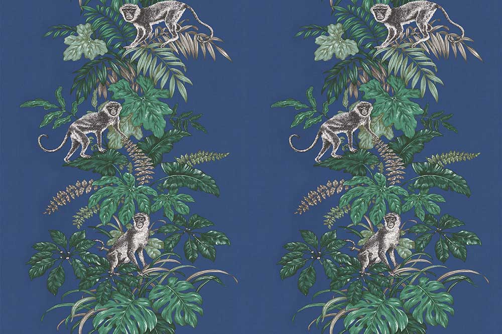 Monkeying Around Fabric - Marine - by iliv