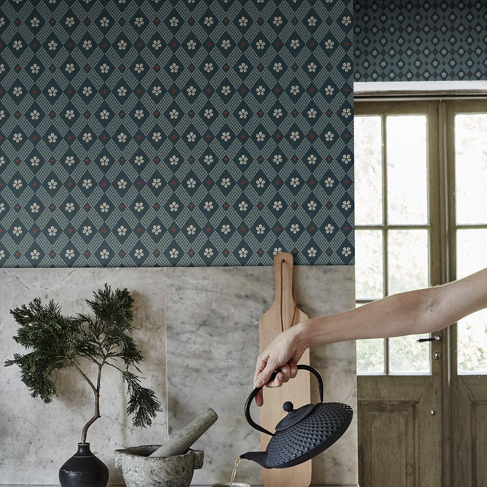 Kimono Wallpaper - Navy - by Sandberg