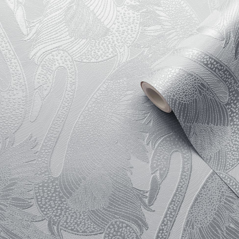 Odette Swan Wallpaper - Silver - by Albany