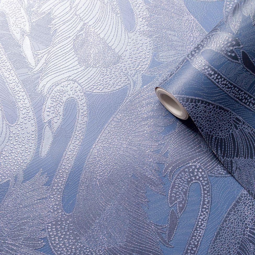 Odette Swan Wallpaper - Sapphire - by Albany