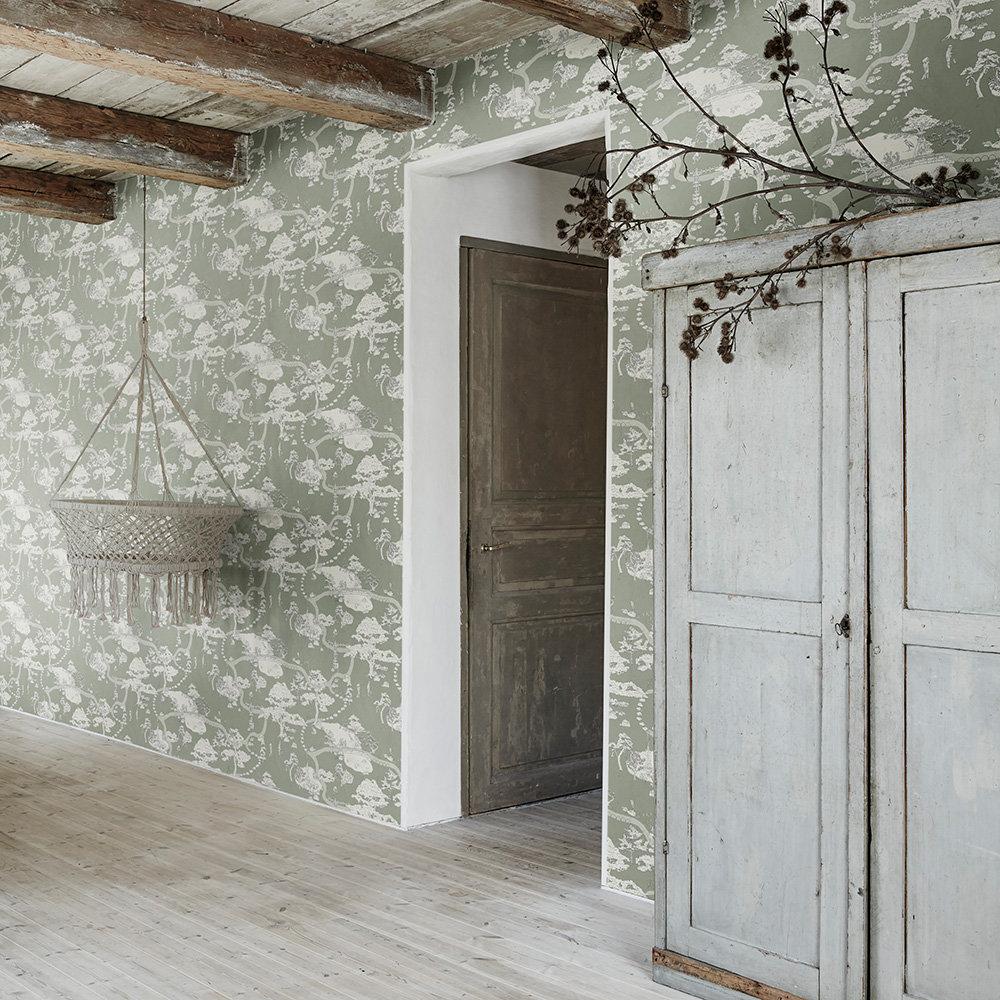 Kenrokuen Wallpaper - Green - by Sandberg
