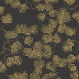 Sandberg Pine Gold / Black Wallpaper - Product code: 804-99