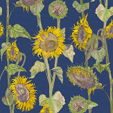 Petronella Hall Sunflowers Blue Wallpaper