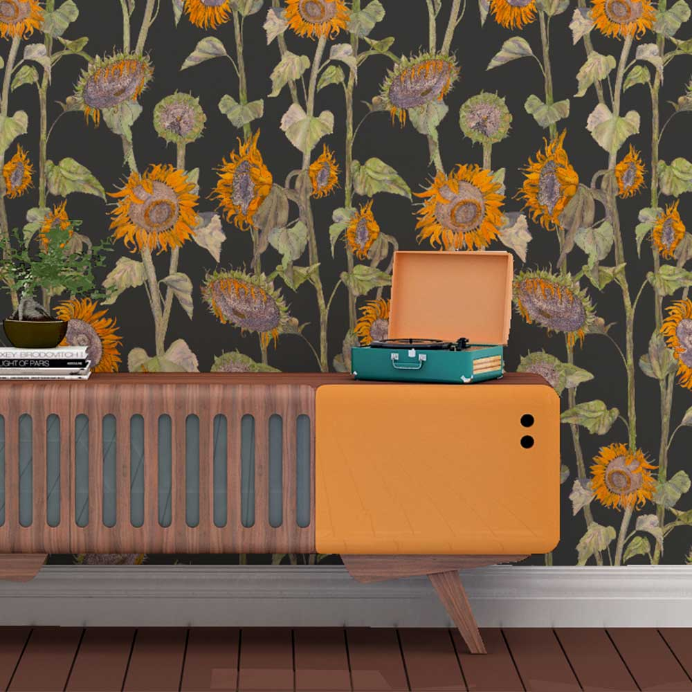 Petronella Hall Sunflowers Black Wallpaper - Product code: 11871