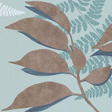 Osborne & Little Feuille D'Or Aqua / Copper Wallpaper - Product code: W7331-02
