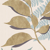 Osborne & Little Feuille D'Or Pebble / Gold Wallpaper - Product code: W7331-04