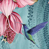 Osborne & Little Trailing Orchid Teal / Pink Mural - Product code: W7334-01