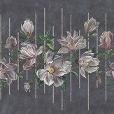 Osborne & Little Magnolia Frieze Charcoal / Pink Mural - Product code: W7338-01