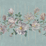 Osborne & Little Magnolia Frieze Aqua / Ochre Mural - Product code: W7338-02