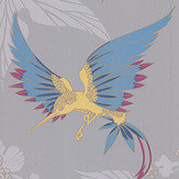 Osborne & Little Grove Garden Grey / Yellow Wallpaper - Product code: W5603-09