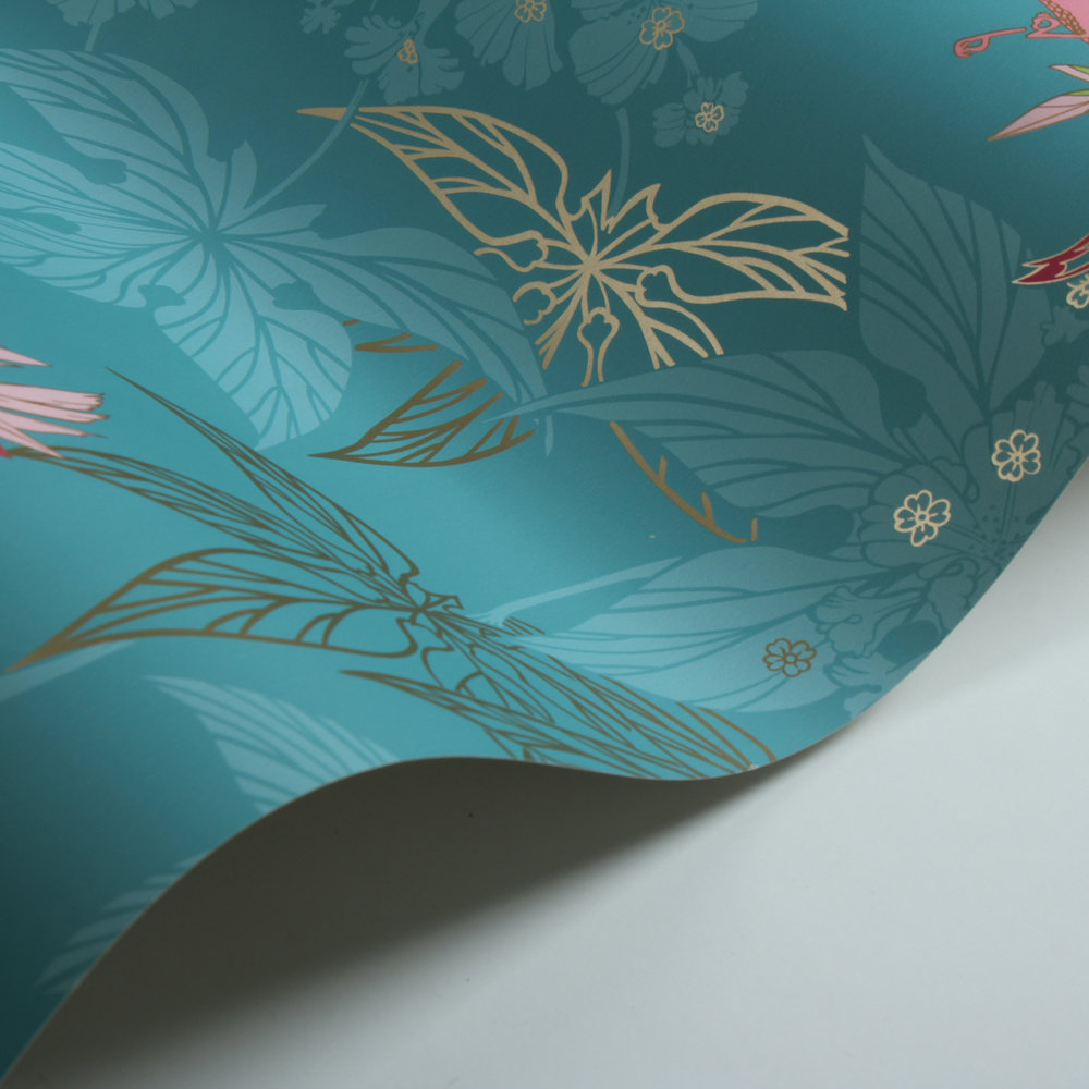 Osborne & Little Grove Garden Teal / Pink Wallpaper extra image