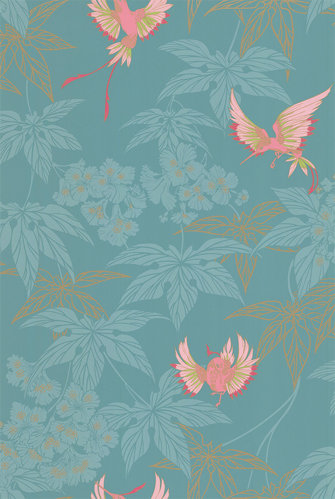Osborne & Little Grove Garden Teal / Pink Wallpaper main image
