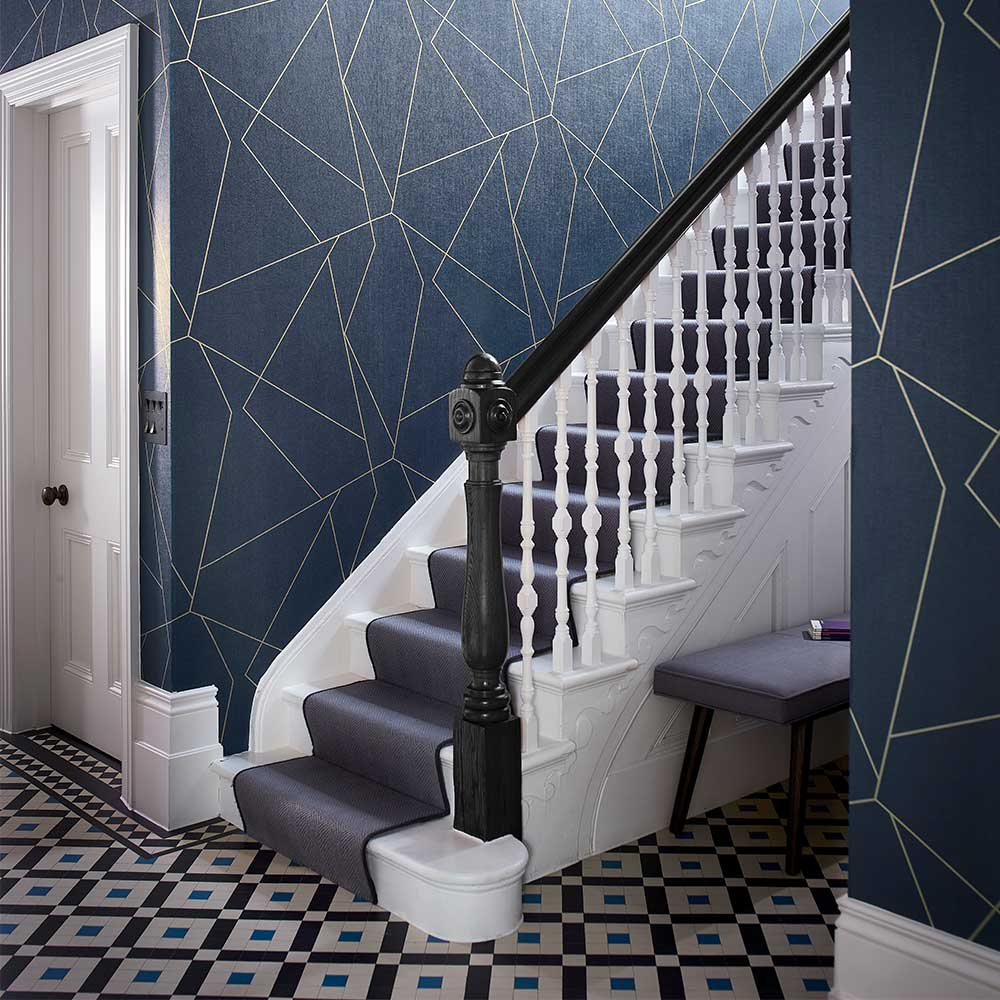 Parapet Wallpaper - Indigo - by Harlequin