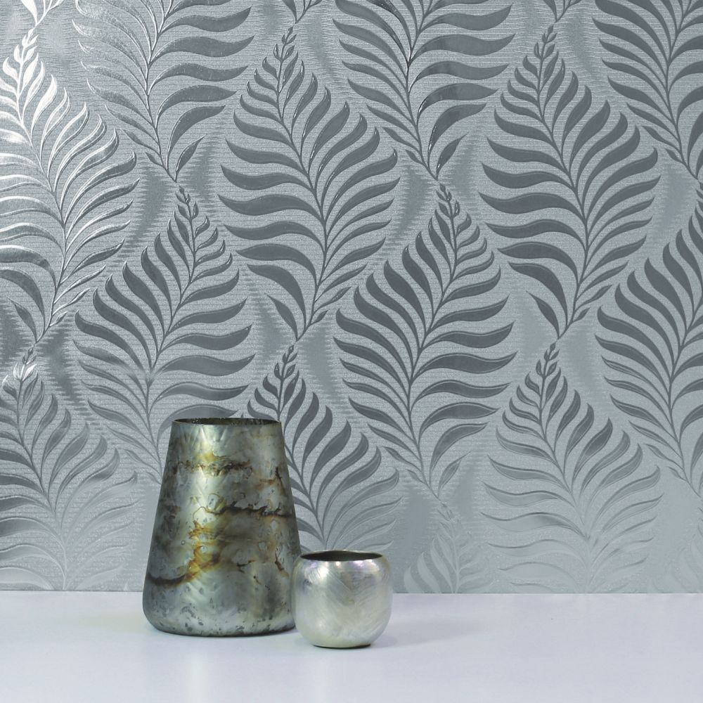 Arthouse Leaf Foil Silver Wallpaper - Product code: 901804