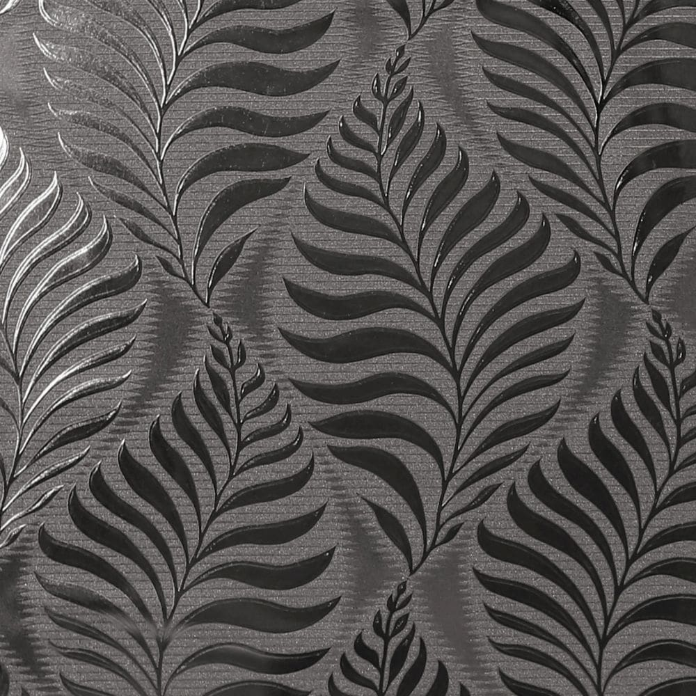Leaf Foil Wallpaper - Charcoal - by Arthouse