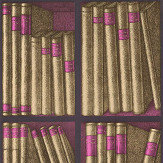 Cole & Son Ex Libris Gold / Magenta Wallpaper - Product code: 114/15031