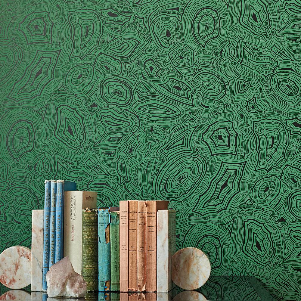 Malachite Wallpaper - Emerald / Black - by Cole & Son