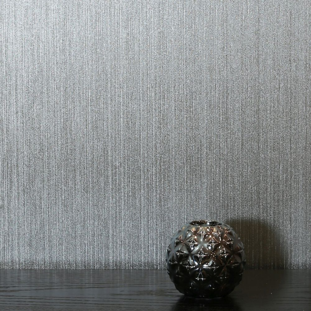 Arthouse Gianni Plain Silver Wallpaper - Product code: 906803