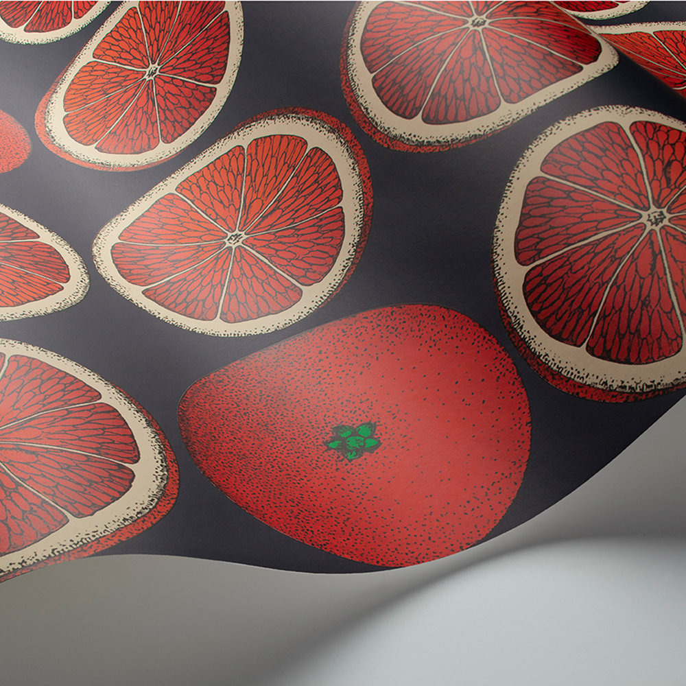 Arance Wallpaper - Blood Orange / Ink - by Cole & Son