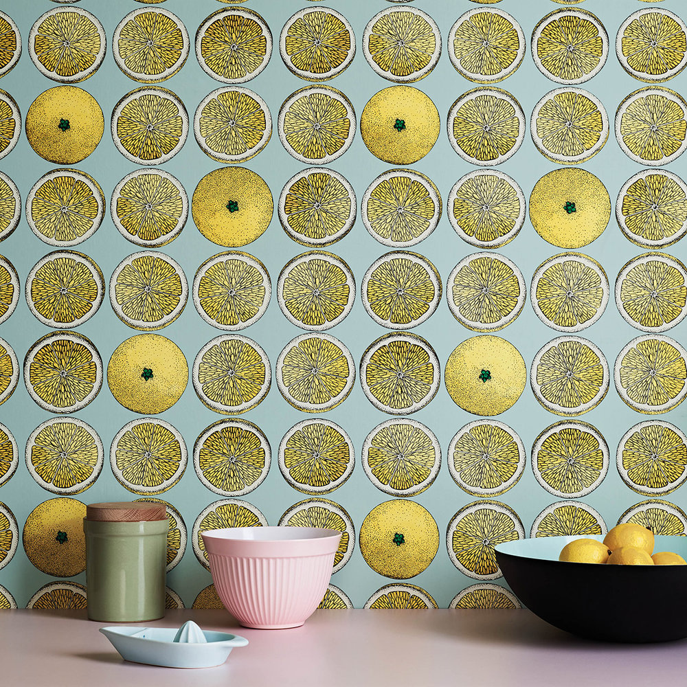 Cole & Son Arance Lemon / Seafoam Wallpaper - Product code: 114/24048