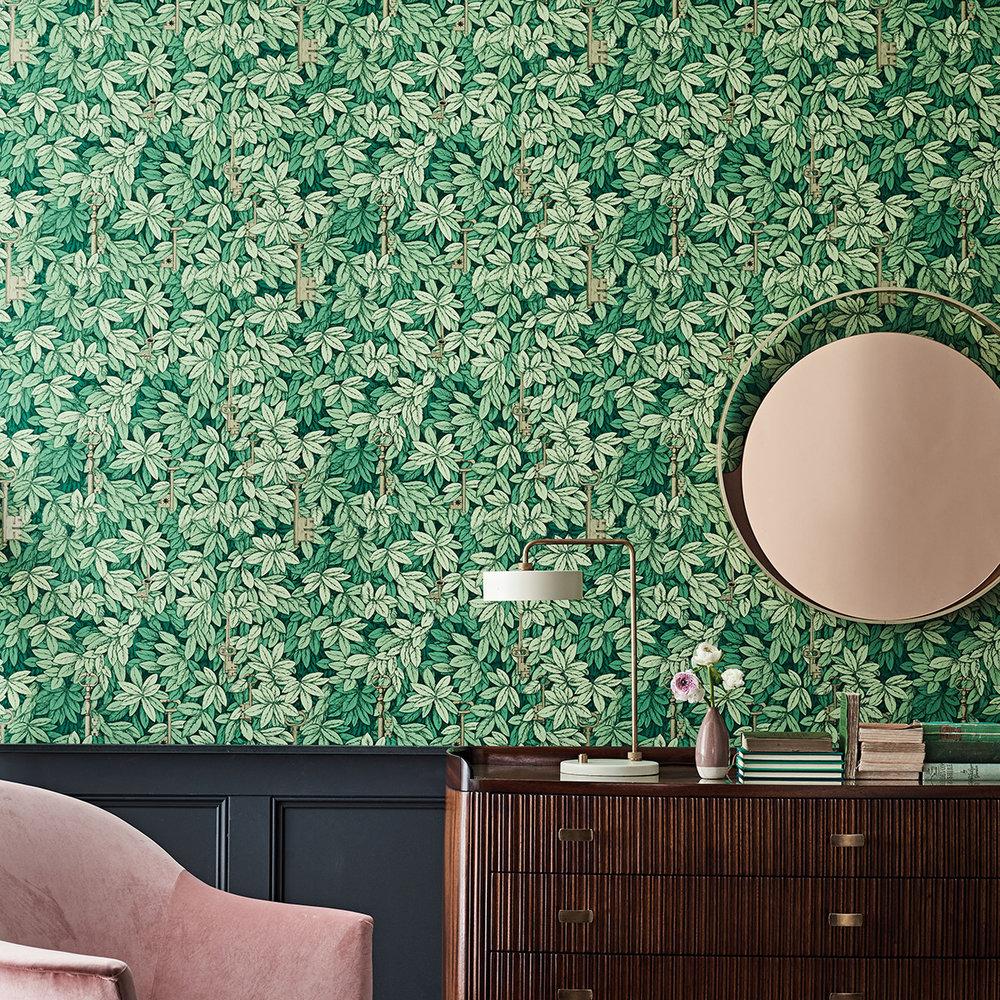 Chiavi Segrete Wallpaper - Leaf Green - by Cole & Son